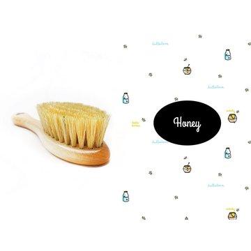 LullaLove, Szczotka z naturalnego włosia w zestawie z muślinową myjką, Miód