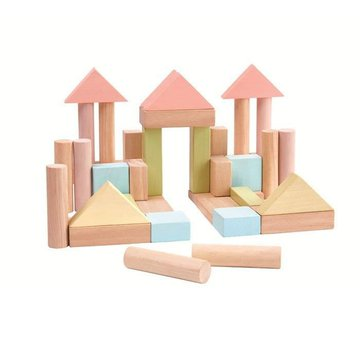 Klocki drewniane 40 szt., seria pastelowa | Plan Toys