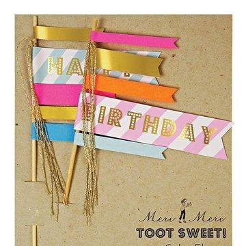 Meri Meri - Toppery na tort Flagi Happy Birthday