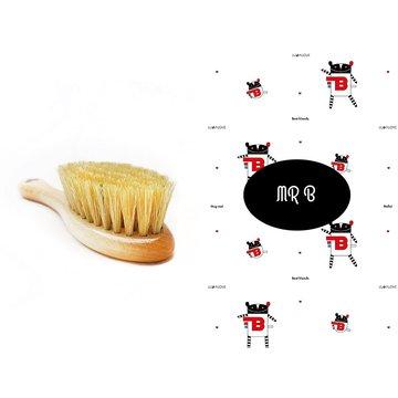 LullaLove, Szczotka z naturalnego włosia w zestawie z muślinową myjką, MR B
