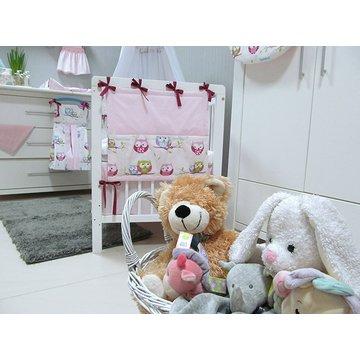 Przybornik do łóżeczka Savea; sowy różowe; 50x45cm