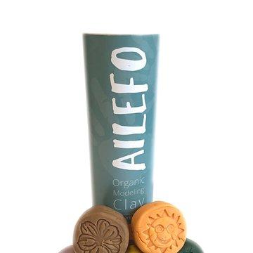 Ailefo, Organiczna Ciastolina, Kolory lasu, mała tuba, 5 kolorów po 100g AILEFO