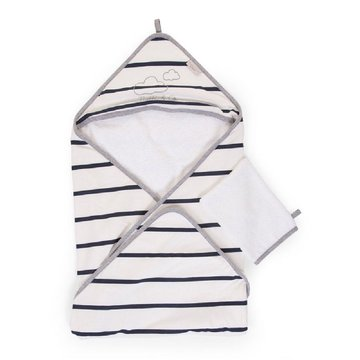 Childhome Ręcznik z kapturkiem + myjka Jersey Marin CHILDHOME