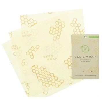 Bee's Wrap, Woskowana organiczna bawełna do zawijania, 3 szt., rozm. M 25 x 27,5 cm BEE'S WRAP