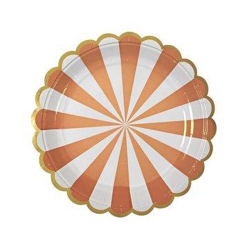 Meri Meri - Małe talerzyki Paski pomarańczowe