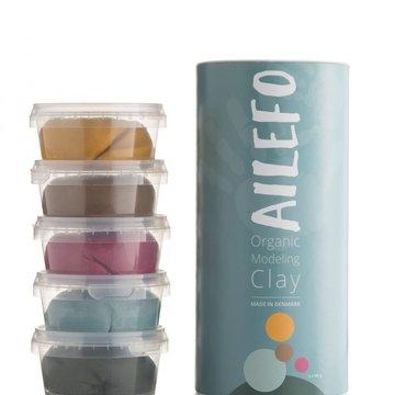Ailefo, Organiczna Ciastolina, duża tuba, 5 kolorów po 160g AILEFO