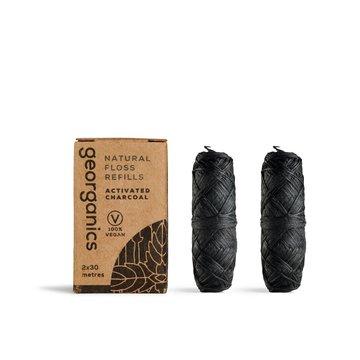 Georganics, Naturalna Nić Dentystyczna z Węglem, 30m x 2, REFILL GEORGANICS