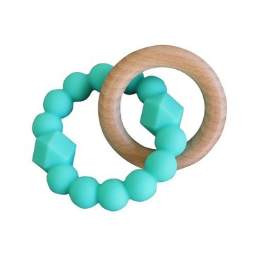 Jellystone Designs - Gryzak dla dziecka, drewno i silikon, miętowy, Jellystone Design