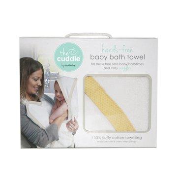 CUDDLEDRY - The Cuddle, Bawełniany ręcznik fartuch, biały/musztardowe wzory geometryczne