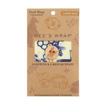 Bee's Wrap, Woskowana organiczna bawełna do zawijania, 3 szt., Lunch, 1 x S, 2 x M BEE'S WRAP