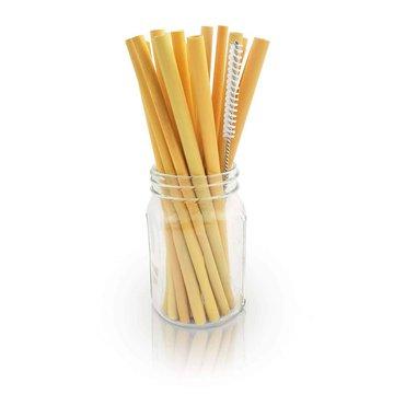 BAMBAW, Ekologiczne słomki bambusoweo  wraz ze szczoteczką do czyszczenia, 14 cm x 50 szt.