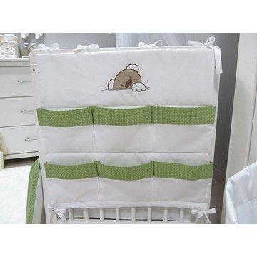 Przybornik do łóżeczka Savea; misie zielone; 60x60cm