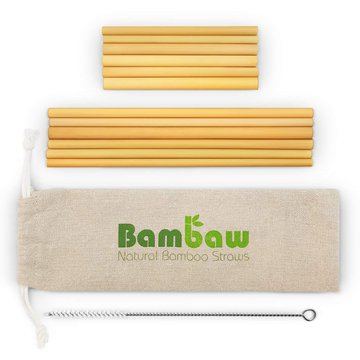BAMBAW, Zestaw ekologicznych słomek wraz ze szczoteczką do czyszczenia, 6x22 i 6x14 cm