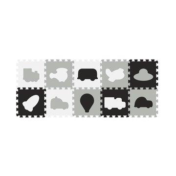 BABYONO - 394/02 Puzzle piankowe 10szt pojazdy