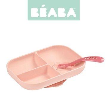 Beaba Komplet naczyń z silikonu trójdzielny talerz z przyssawką + łyżeczka Pink