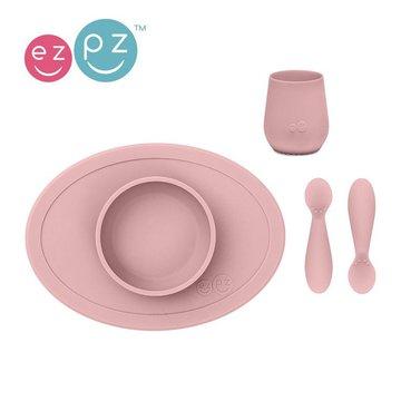 Duplikat# EZPZ Komplet pierwszych naczyń silikonowych First Foods Set pastelowy róż