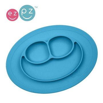 Duplikat# EZPZ Silikonowy talerzyk z podkładką mały 2w1 Mini Mat niebieski