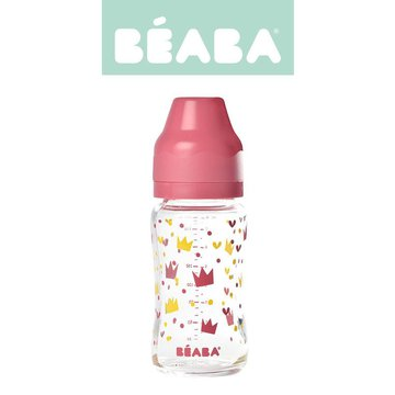 Beaba Butelka szklana szerokootworowa 240 ml Yellow / Pink Crown