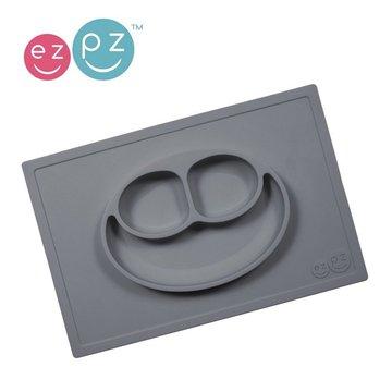 EZPZ Silikonowy talerzyk z podkładką 2w1 Happy Mat szary