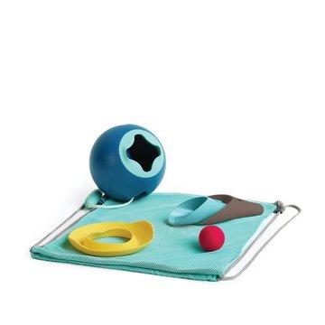 QUUT Set plażowy wiaderko Mini Ballo + 2 łopatki z piłeczką Cuppi + foremka Magic shaper Heart w worku, edycja limitowana Quut