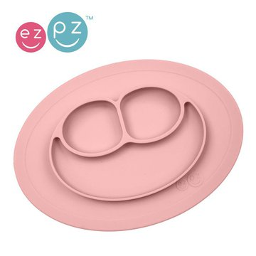 Duplikat# EZPZ Silikonowy talerzyk z podkładką mały 2w1 Mini Mat pastelowy róż
