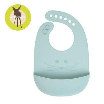 Lassig Śliniak silikonowy z kieszonką Little Chums Mysz niebieski