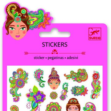 Djeco - Naklejki brokatowe z indyjskimi motywami DJ09761