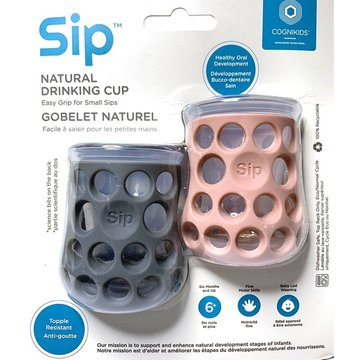 CogniKids Sip® – Natural Drinking Cup 2 sensoryczne kubeczeki do nauki picia dla niemowląt Slate/Blush COGNIKIDS