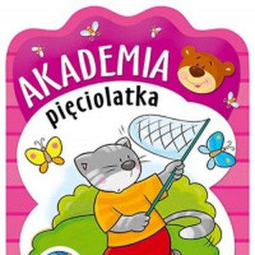 Aksjomat - Akademia pięciolatka z kotkiem. Książeczka edukacyjna z naklejkami