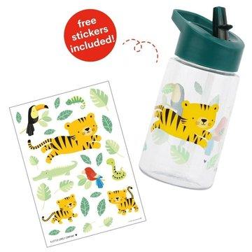A Little Lovely Company - Bidon transparentny ze składanym ustnikiem Tygrysek z naklejkami