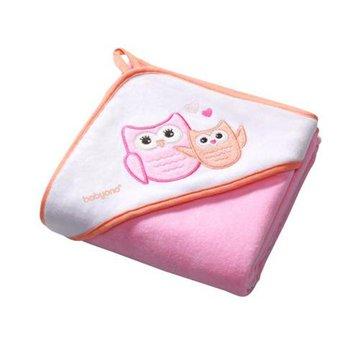 BABYONO - 138/01 Okrycie kąpielowe welurowe - ręcznik z kapturkiem 100x100cm różowe