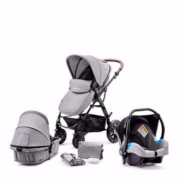 Kinderkraft Wózek Wielofunkcyjny 3w1 MOOV Nowy Fotelik Gray
