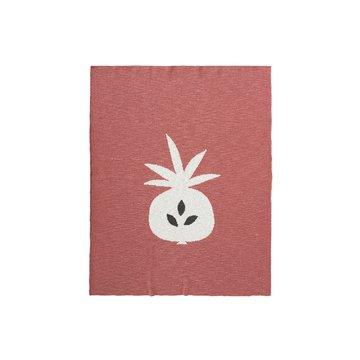 Fresk Tkany kocyk z bawełny organicznej 80 x 100 cm Ananas Oker FRESK