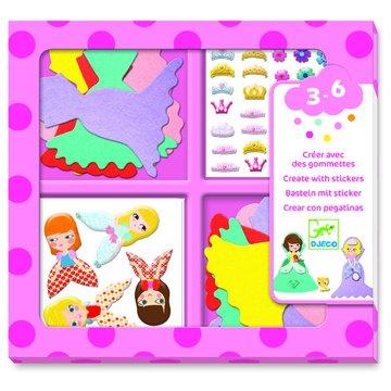 Djeco - Zestaw z naklejkami KOCHAM KSIĘŻNICZKI DJ09053
