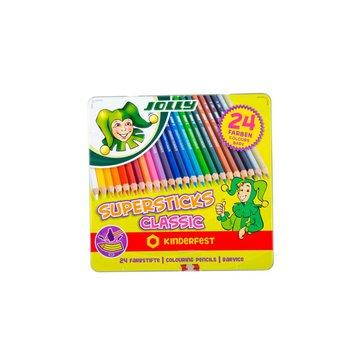 Jolly - Kredki Supersticks 24 kolory w metalowym pudełku