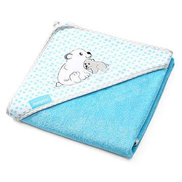 Babyono - 346/02 Okrycie kąpielowe bambusowe - ręcznik z kapturkiem NATURAL BAMBOO 100X100cm niebieskie