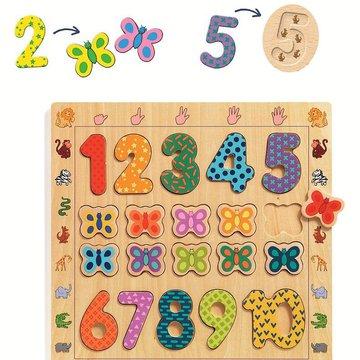 Djeco - Drewniane cyfry do nauki liczenia 1 do 10 DJ01801