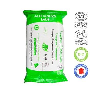Alphanova Bebe, Ekologiczne chusteczki biodegradowalne z oliwą, 60 szt. ALPHANOVA BEBE