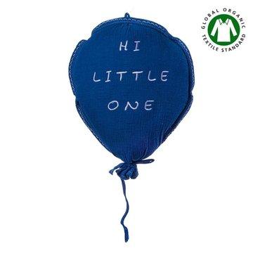Hi Little One - Poduszka dekoracyjna z organicznego oddychającego BIO  muślinu GOTS BALOON NAVY