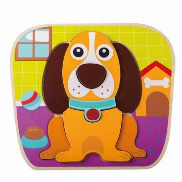 Joueco - Drewniany puzzle - układanka zwierzątka pies