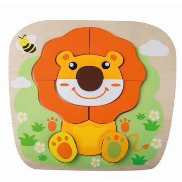 Joueco - Drewniany puzzle - układanka zwierzątka lew