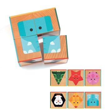 Djeco - Drewniane klocki/puzzle 4 cz. CUBA BASIC DJ06208