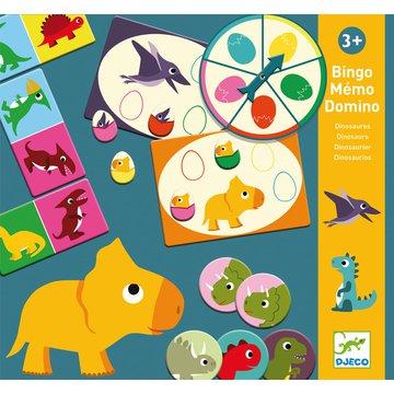 Djeco - Gry edukacyjne Bingo memo domino DINOZAURY DJ08132