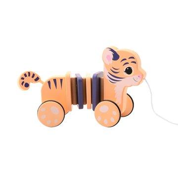 Joueco - 80098 Drewniany Tygrysek na sznurku