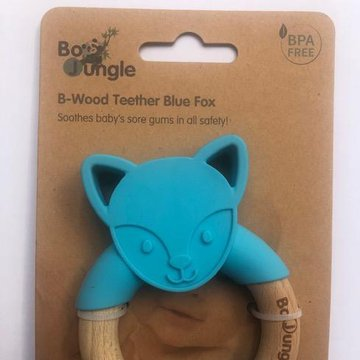 Bo Jungle - B-Gryzak drewniano-silikonowy Animals Blue Fox