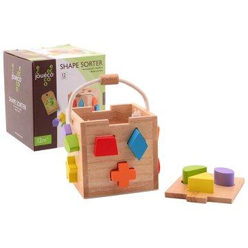 Joueco - Drewniany sorter kształtów z klockami