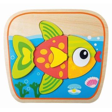 Joueco - Drewniany puzzle - układanka zwierzątka ryba