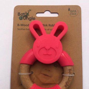 Bo Jungle - B-Gryzak drewniano-silikonowy Animals Pink  Rabbit