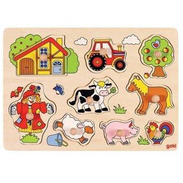 Goki® - Drewniana układanka z uchwytami, puzzle Farma, Goki  - USZKODZONE OPAKOWANIE
