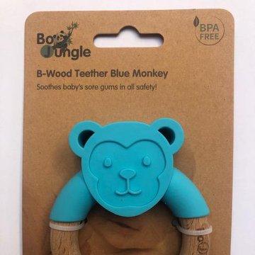 Bo Jungle - B-Gryzak drewniano-silikonowy Animals Blue Monkey